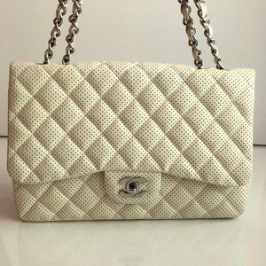 Chanel single flap perforated lambskin jumbo